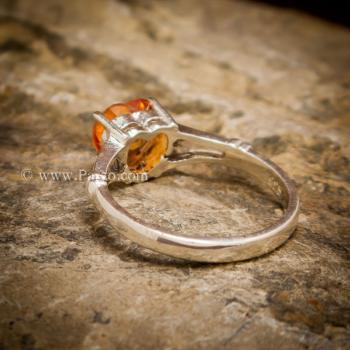 แหวนพลอยรูปหัวใจ แหวนพลอยแม่โขง แหวนบุษราคัม #2
