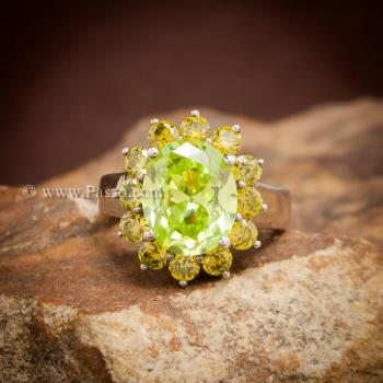 แหวนเพริดอต ล้อมพลอย บุษราคัม #3