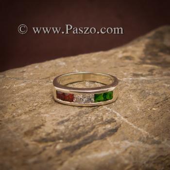 แหวนแถว แหวนเงิน ฝังโกเมน #2