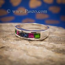 แหวนแถว ฝังไพลิน เขียวมรกต ทับทิม แหวนเงินแท้ 925