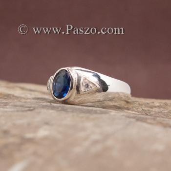 แหวนไพลิน แหวนพลอยสีน้ำเงิน แหวนเงินแท้ #4