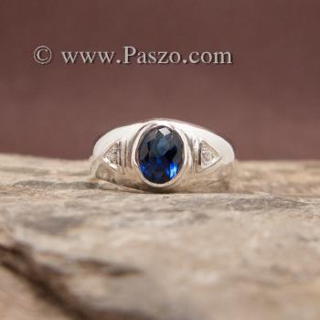 แหวนไพลิน แหวนพลอยสีน้ำเงิน แหวนเงินแท้ #2