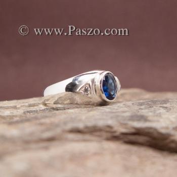 แหวนไพลิน แหวนพลอยสีน้ำเงิน แหวนเงินแท้ #3