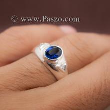 แหวนไพลิน แหวนพลอยสีน้ำเงิน แหวนเงินแท้ ฝังพลอยทับทิม ฝังเพชร แหวนขนาดกลาง