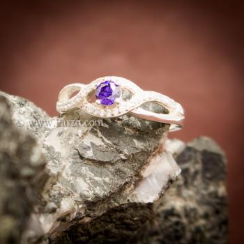 แหวนดวงตา แหวนพลอยสีม่วง แหวนเงินแท้ #2