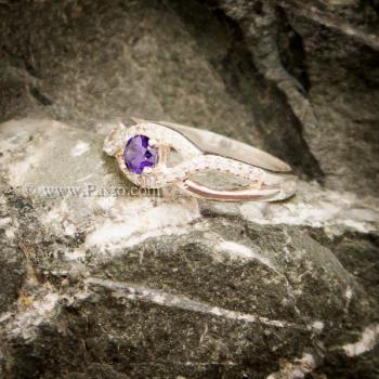 แหวนดวงตา แหวนพลอยสีม่วง แหวนเงินแท้ #3
