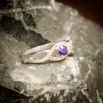 แหวนดวงตา แหวนพลอยสีม่วง แหวนเงินแท้ #4