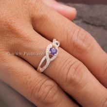 แหวนดวงตา แหวนพลอยสีม่วง แหวนเงินแท้ ฝังเพชร