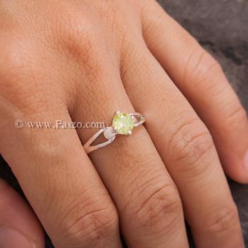 แหวนเพริด๊อต แหวนพลอยสีน้ำมะนาว แหวนพลอยสีเขียวอ่อน #2