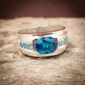 แหวนพลอยสีฟ้า แหวนผู้ชาย แหวนเงินแท้ #7