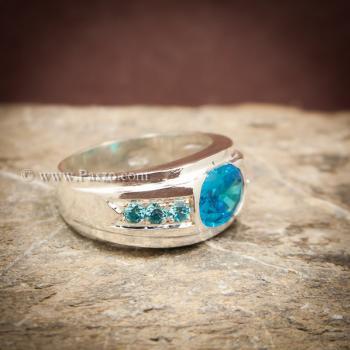 แหวนพลอยสีฟ้า แหวนผู้ชาย แหวนเงินแท้ #3