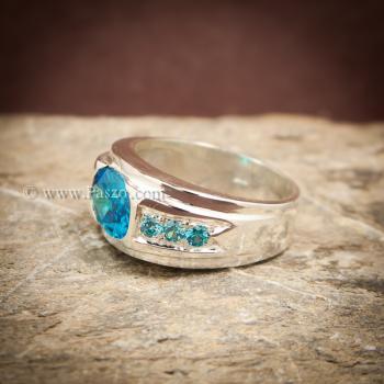 แหวนพลอยสีฟ้า แหวนผู้ชาย แหวนเงินแท้ #5