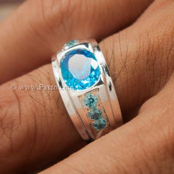 แหวนพลอยสีฟ้า แหวนผู้ชาย แหวนเงินแท้ #4