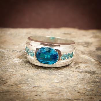 แหวนพลอยสีฟ้า แหวนผู้ชาย แหวนเงินแท้ #6