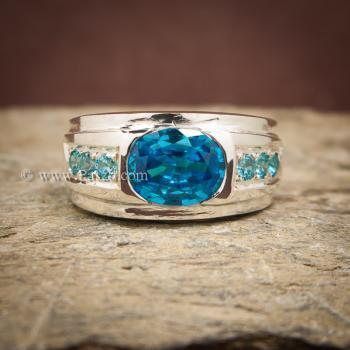 แหวนพลอยสีฟ้า แหวนผู้ชาย แหวนเงินแท้ #2