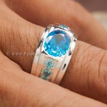 แหวนพลอยสีฟ้า แหวนผู้ชาย แหวนเงินแท้ ฝังบูลโทพาซ พลอยสีฟ้า