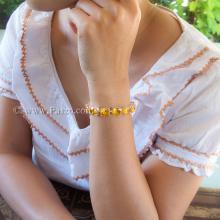 สร้อยข้อมือบุษราคัม พลอยสีเหลือง สร้อยข้อมือเงินแท้ 925 ขนาดใหญ่