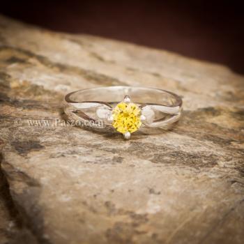 แหวนบุษราคัม แหวนพลอยสีเหลือง เม็ดกลม #3
