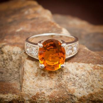 แหวนพลอยแม่โขง แหวนบุษราคัม บ่าแหวนฝังเพชร #2