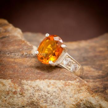 แหวนพลอยแม่โขง แหวนบุษราคัม บ่าแหวนฝังเพชร #6