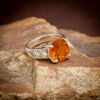 แหวนพลอยแม่โขง แหวนบุษราคัม บ่าแหวนฝังเพชร #5