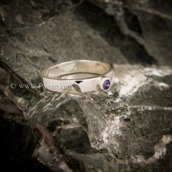 แหวนพลอยสีม่วง อะเมทีส แหวนเงินแท้ #3