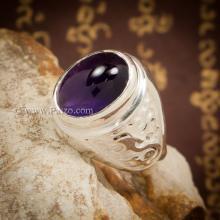 แหวนมังกร แหวนพลอยผู้ชาย แหวนอะเมทีส พลอยสีม่วง เจียรหลังเบี้ย แหวนเงินแท้ แหวนผู้ชาย