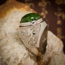 แหวนหยก แหวนมังกร แหวนผู้ชายเงินแท้ ฝังหยกแท้ หยกเขียวเข้ม แหวนผู้ชาย แหวนหยกผู้ชาย