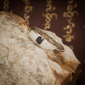 แหวนนิล แหวนเงินแท้ ฝังนิล #3