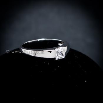 แหวนเพชร เม็ดสี่เหลี่ยม แหวนเงินแท้ #4