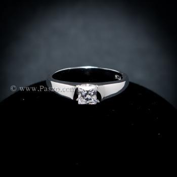 แหวนเพชร เม็ดสี่เหลี่ยม แหวนเงินแท้ #2