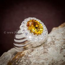 แหวนบุษราคัม แหวนผู้ชายเงินแท้ พลอยสีเหลือง ล้อมเพชร แหวนผู้ชาย