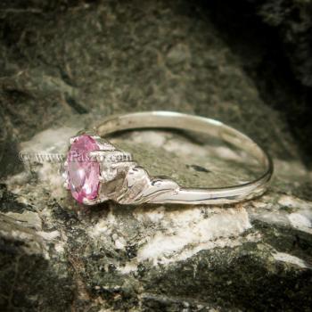 แหวนพลอยชมพู แหวนเงินแท้ ฝังพิงค์โทพาส #2