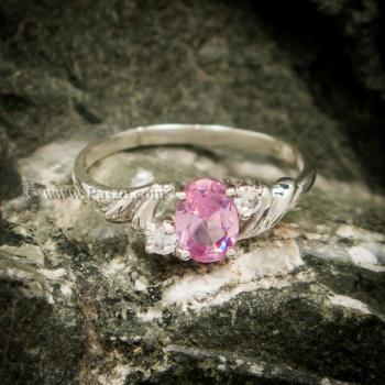 แหวนพลอยชมพู แหวนเงินแท้ ฝังพิงค์โทพาส #3