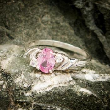 แหวนพลอยชมพู แหวนเงินแท้ ฝังพิงค์โทพาส #4