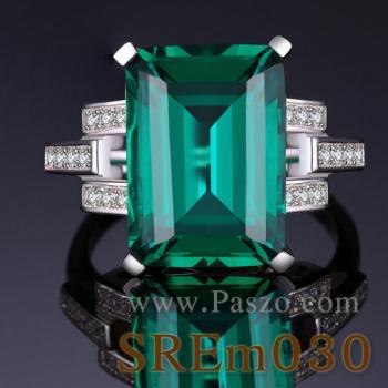 แหวนมรกต แหวนเงินแท้ บ่าเพชรสามแถว #3