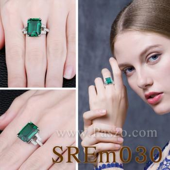 แหวนมรกต แหวนเงินแท้ บ่าเพชรสามแถว #4