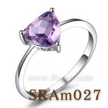 แหวนพลอยสีม่วง พลอยสามเหลี่ยมสีม่วง แหวนเงินแท้ พลอยสามเหลี่ยม แหวนอะเมทิสต์ แหวนเม็ดเดี่ยว
