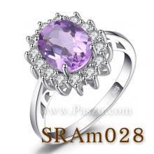 แหวนพลอยสีม่วง แหวนอะเมทิสต์ แหวนล้อมเพชร แหวนเงินแท้