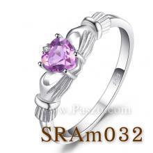 แหวนอะเมทิสต์ พลอยรูปหัวใจ แหวนพลอยสีม่วง แหวนแห่งรัก แหวนเงินแท้