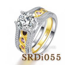 แหวนชุด แหวนถอดแยกใส่ได้ แหวนเพชร แหวนพลอย6เม็ด แหวนเงินแท้ แหวน2in1 แหวนเงินฝังเพชร