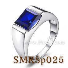 แหวนผู้ชายพลอยสีน้ำเงิน แหวนผู้ชายพลอยสี่เหลี่ยม แหวนผู้ชายเงินแท้ แหวนไพลิน แหวนผู้ชาย