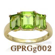 แหวนชุบทอง เม็ดสี่เหลี่ยม พลอยเพอริดอท แหวนเงินชุบทอง