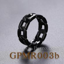 แหวนสแตนเลส ชุบรมดำ แหวนลายโซ่เลส  แหวนฮิปฮอป แหวนผู้ชาย