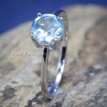 แหวนพลอยอความารีน พลอยเม็ดกลม แหวนเงิน พลอยสีฟ้าน้ำทะเล แหวนพลอยเม็ดเดี่ยว