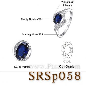 แหวนพลอยไพลิน ล้อมเพชร แหวนเงิน #5