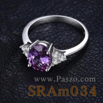 แหวนพลอยสีม่วง เพชรข้างละ3เม็ด แหวนเงิน #2