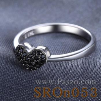แหวนรูปหัวใจ แหวนนิล แหวนเงินแท้ #2
