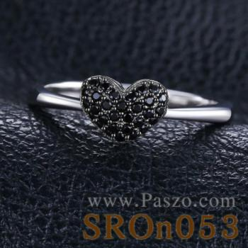 แหวนรูปหัวใจ แหวนนิล แหวนเงินแท้ #4