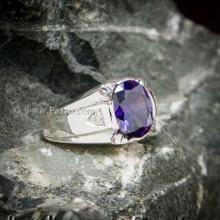 แหวนแห่งแสง แหวนพลอยสีม่วง แหวนผู้ชายเงินแท้ บ่าฝังเพชร แหวนผู้ชาย